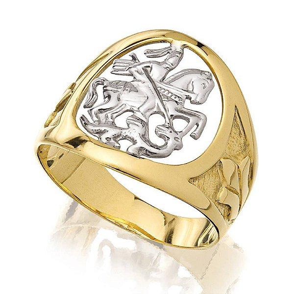 Anel Unissex São Jorge em ouro 18k e detalhes em ouro branco