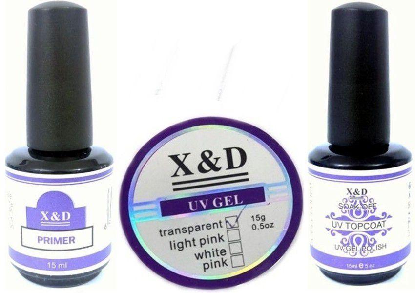 Kit Unhas X&D - Primer, Top Coat e Gel uv