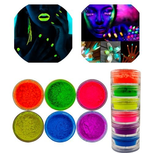 Kit 6 Pó Neon Fluorescente para as unhas