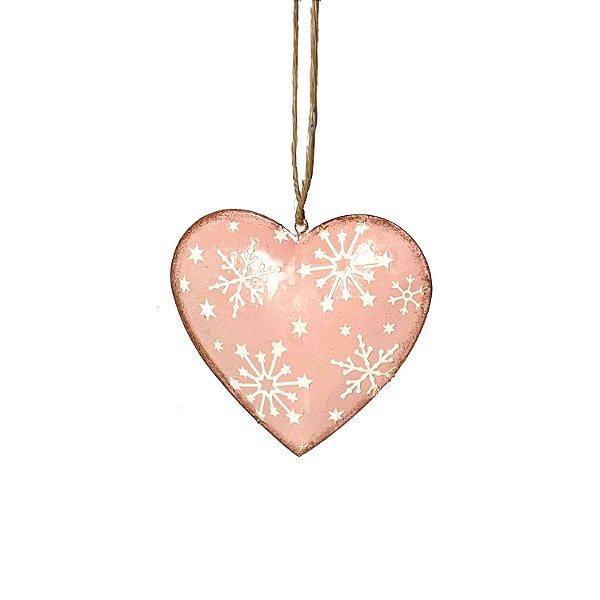Coração em metal rosa com estrelas F350334