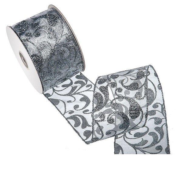 Fita prata organza design prata gliterado A108370