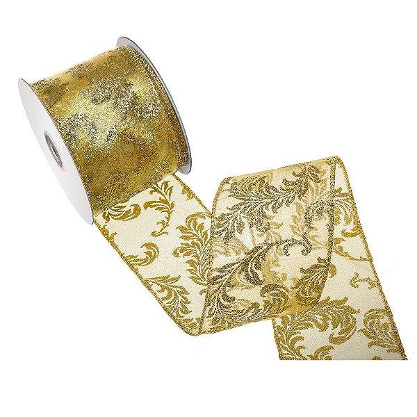 Fita ouro organza c/ design ouro gliterado A108381