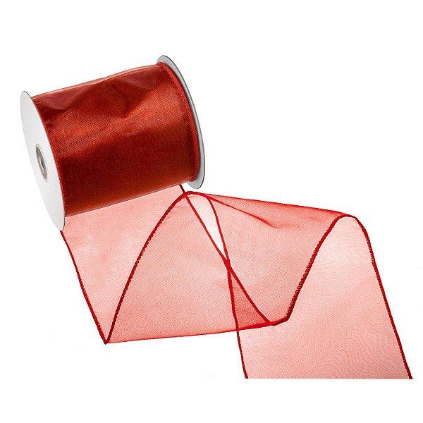 Fita vermelho sangue organza A108383