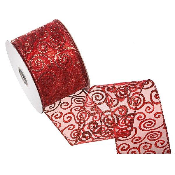 Fita vermelha c/ arabesco gliterado A108410