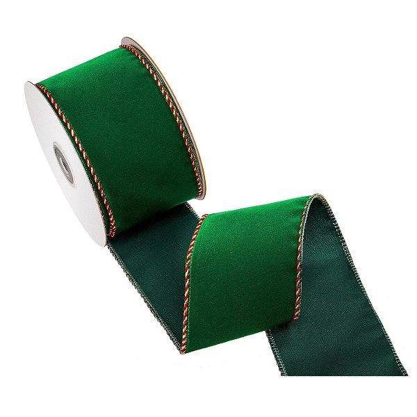Fita verde natalino em veludo A108459