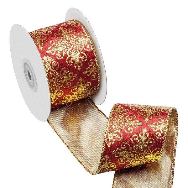 Fita vermelha em veludo c/ medalhões ouro A108889