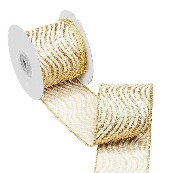 Fita cru linhas curvas gliteradas ouro A108910