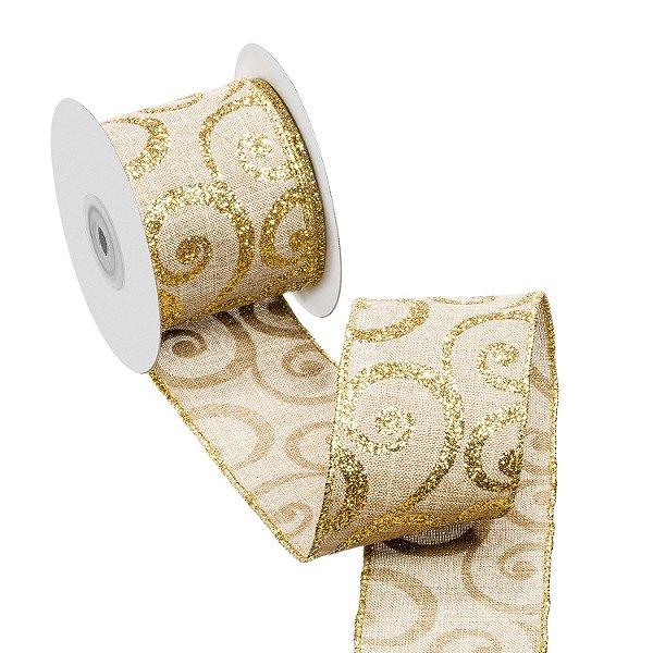 Fita cru c/ arabescos ouro A108911