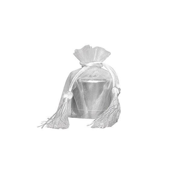 Saquinho de organza Branco com pingente 10,5x 8cm B155956