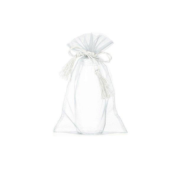 Saquinho de organza Branco com pingente  24 x 15cm B15654