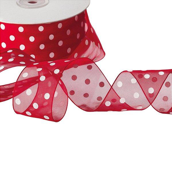 "Fita Organza Vermelha ""Pois"" Branco 3,81cm x 45,70m A204445"