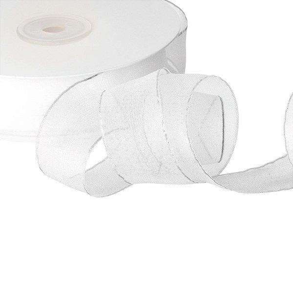 Fita Organza Branca c/ Borda Prata 2,54cm x45,70m A204454