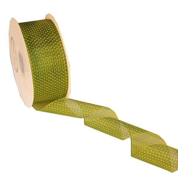 "Fita Organza Verde Musgo ""Mini Pois"" Branco 3,81cm x 50m A205292"