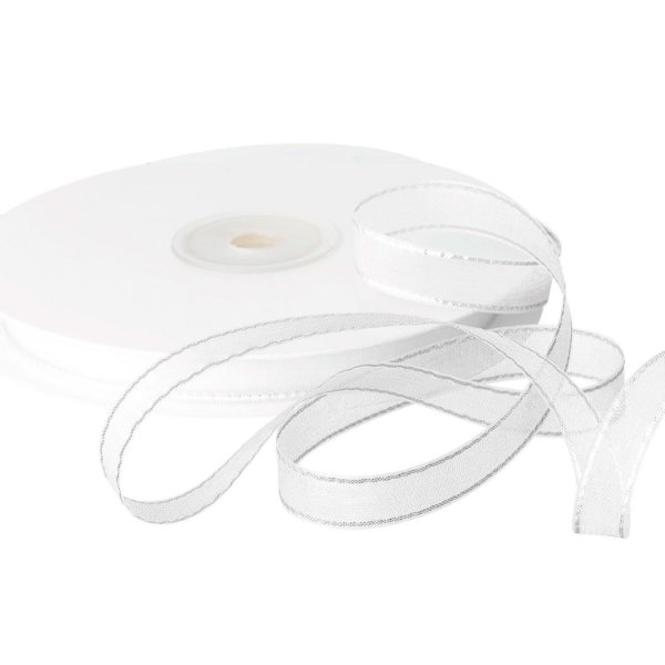 Fita Organza Branca c/ Borda Prata 0,95cm x50m A205880