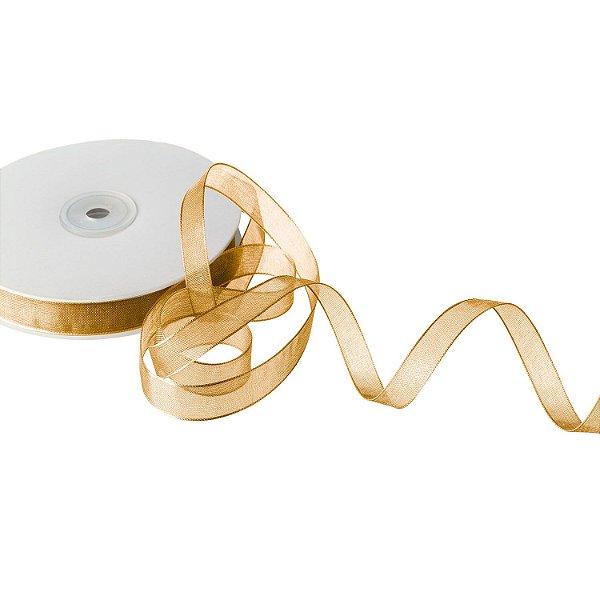 Fita Organza Bege Dourado 0,95cm x 50m A206530