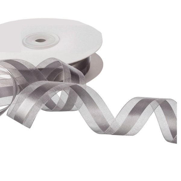 Fita Organza Silver c/ Cetim no Centro 2,54cm x50m A208578