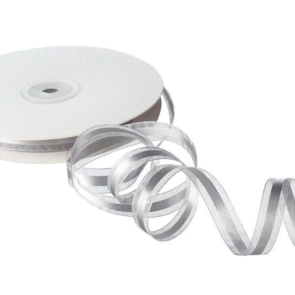 Fita Organza Silver c/ Cetim no Centro 1,27cm x50m A208579
