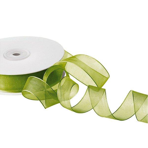 Fita Organza Verde Musgo 1,90cm x 50m A20C651