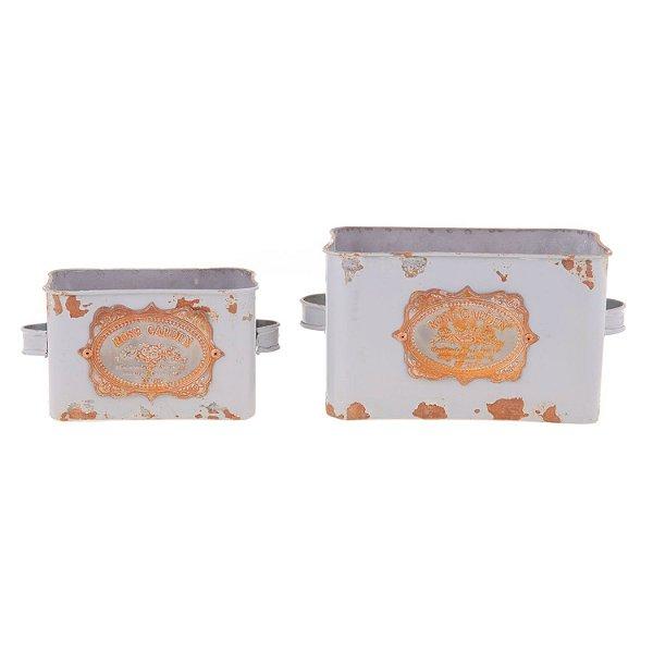 Cachepos Gardem Chic Retangulares em Metal 2 peças F407672