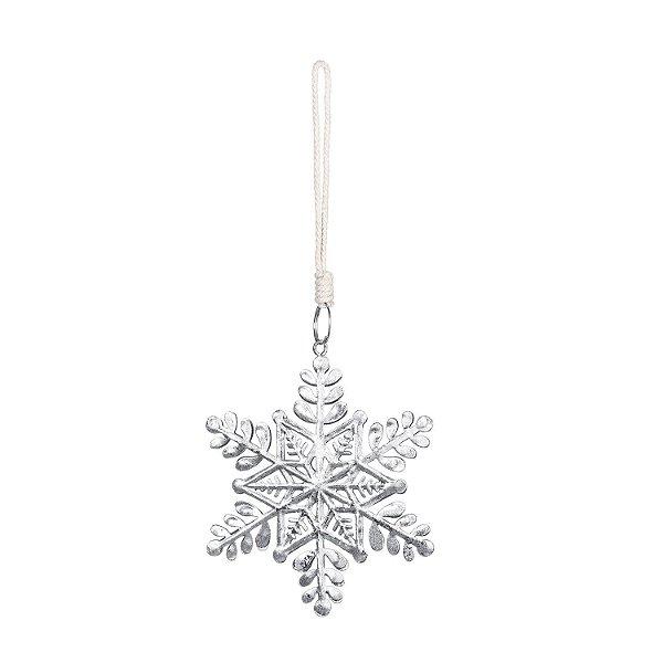 Estrela de neve prata p/ pendurar em metal F358712