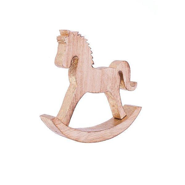 Cavalinho de pau no balanço ouro M em madeira F359195