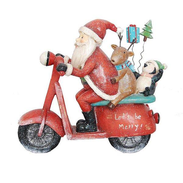 Motocicleta Familia Noel em Resina F409240