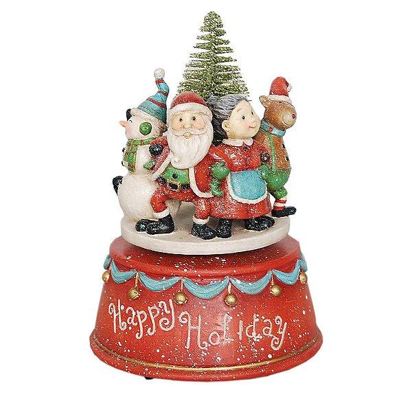 Caixa de Musica Familia Noel em Resina F409236