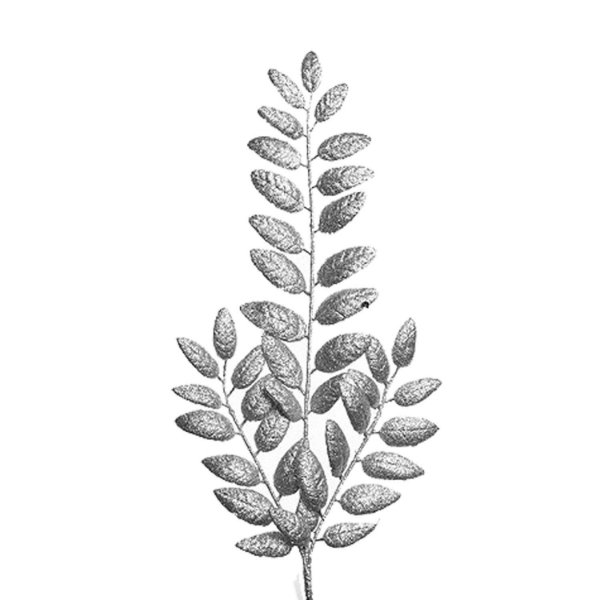 Galho c/folhas gliterada prata G206709