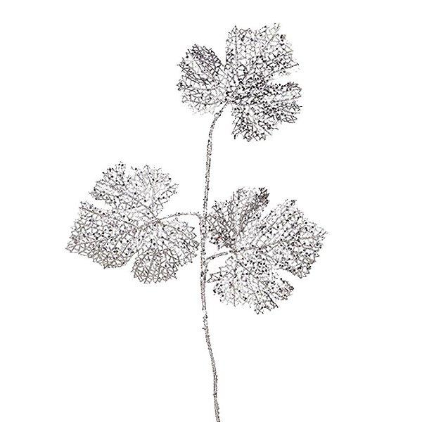 Galho c/folhas rendadas tons prata G207262