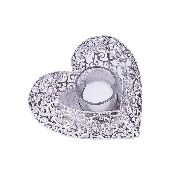 Porta velas coração prata em metal F359113