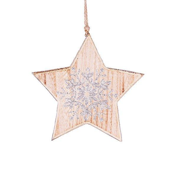 Estrela com estrela de neve para pendurar em madeira F359214