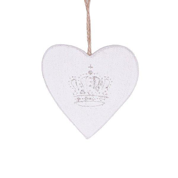 Coração branco com coroa em madeira F359220