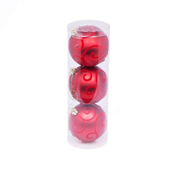 Caixa com 3 bolas arabescadas vermelhas 8cm G109264