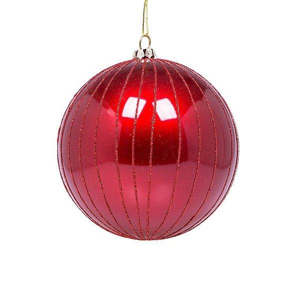 Bola vermelha com reflexos vermelhos 25cm G109265