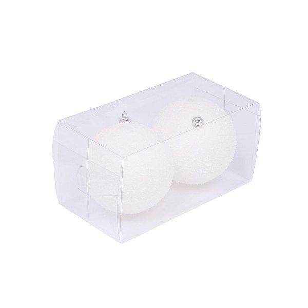 Caixa com 2 bolas branco nevado 12cm G109270
