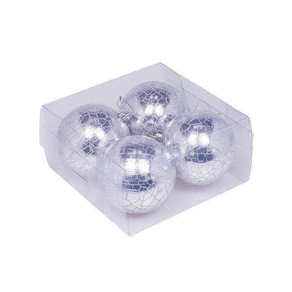 Caixa com 4 bolas prata matizado 10cm G109272