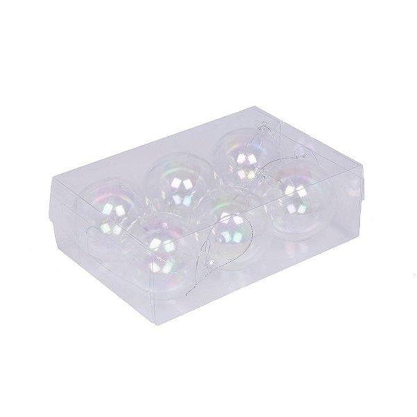 """caixa com 6 bolas furtacor transparente """" bolhas de sabão"""" G109273"""