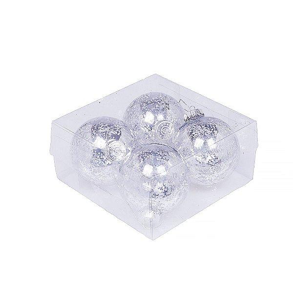 Caixa com 4 bolas craqueladas prata 10cm G109274