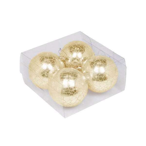 Caixa com 4 bolas craqueladas ouro 10cm G109277