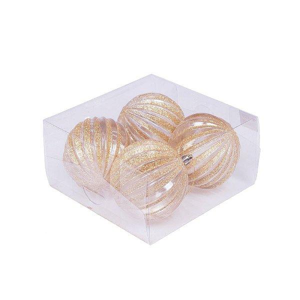 Caixa com 4 bolas transparente com reflexo ouro brilhante 10cm G109287