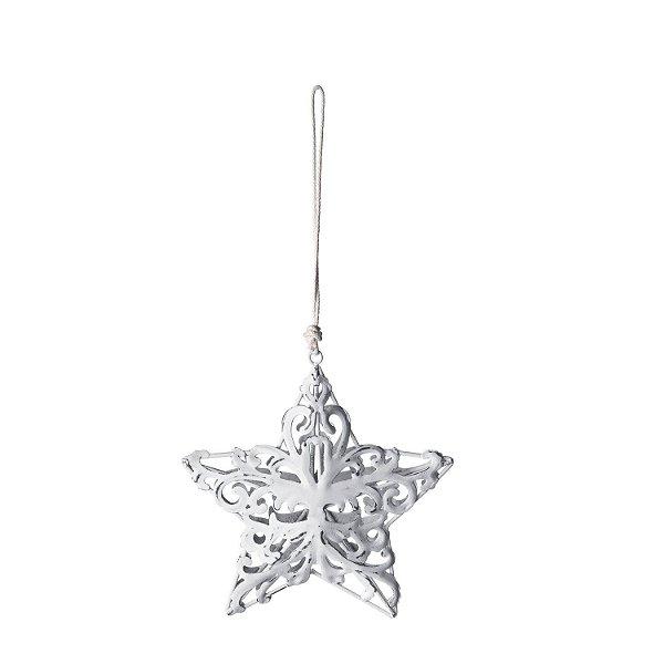 Estrela rendada branca em metal p/ pendurar