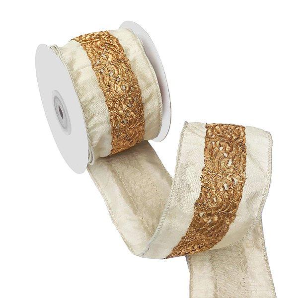 Fita em seda marfim com bordado dourado A109389