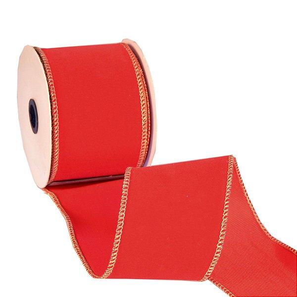 Fita em veludo vermelho com borda ouro A109391