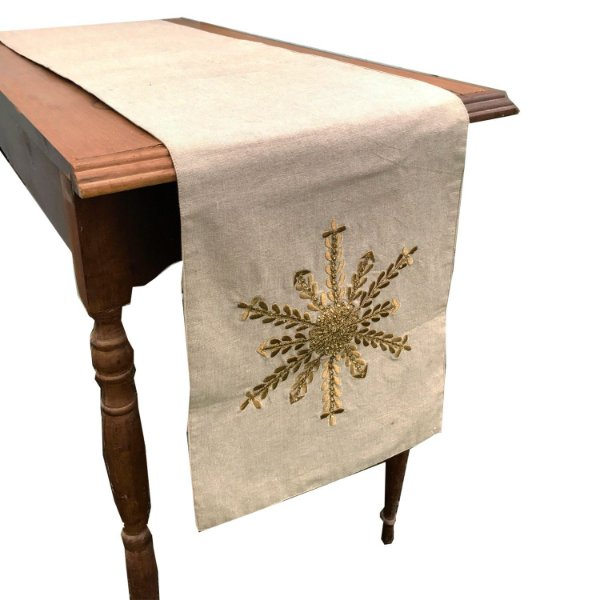 Caminho de  mesa em algodão cru com estrela em pedrarias douradas C209370
