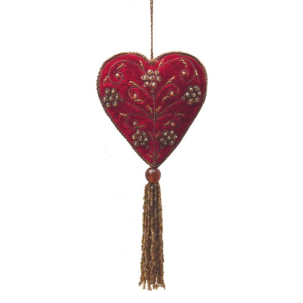 Pingente coração em veludo vermelho com pedrarias F359374