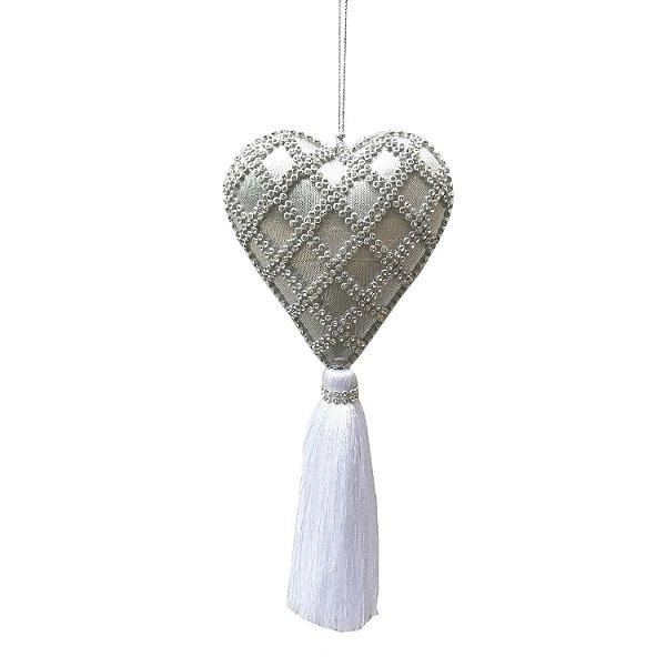 Pingente coração com detalhes em strass prata e tassel F359385