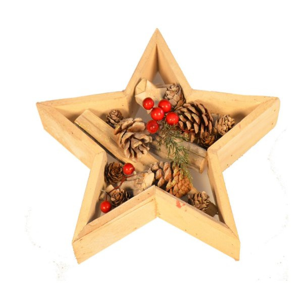 Estrela com pinhas e berries em madeira G209326