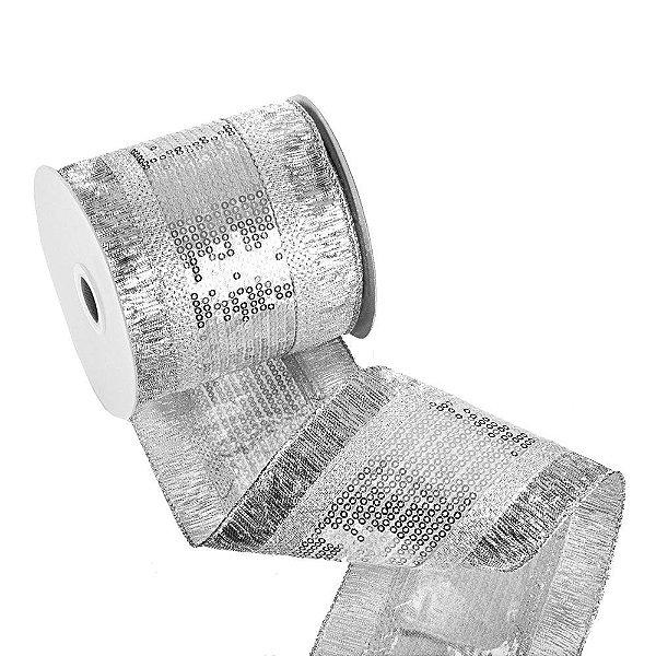 Fita metalizada bordada prata A106031