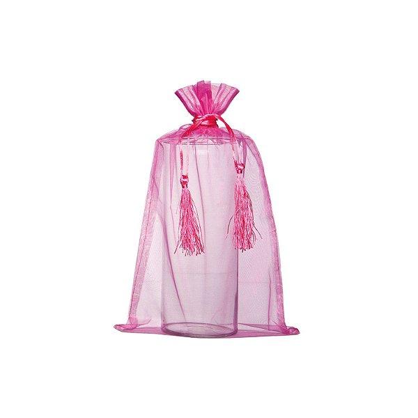 Saquinho de organza pink com pingente 45x36cm B155965