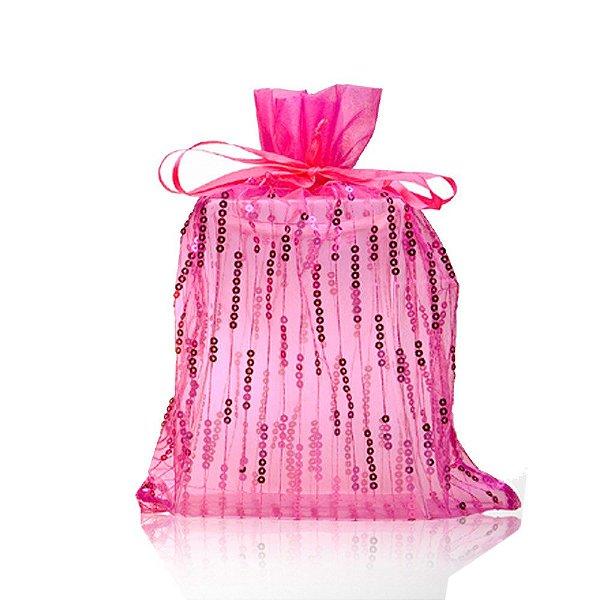 Saquinho de organza Pink com lantejoulas 35x28cm B155370